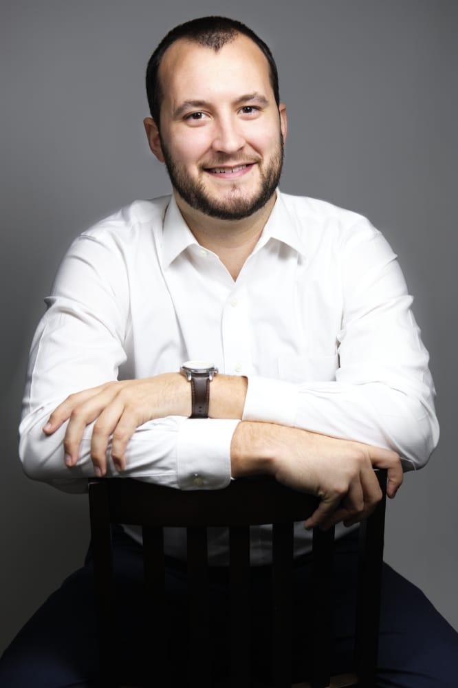 Professional Actor Headshots Male Grey Background White Shirt